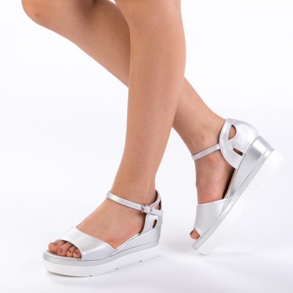 Sandale cu Toc si Platforma LM236 Silver Mei