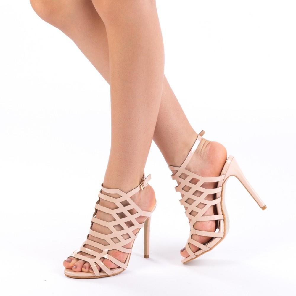 Sandale cu Toc XKK12 Nude Mei