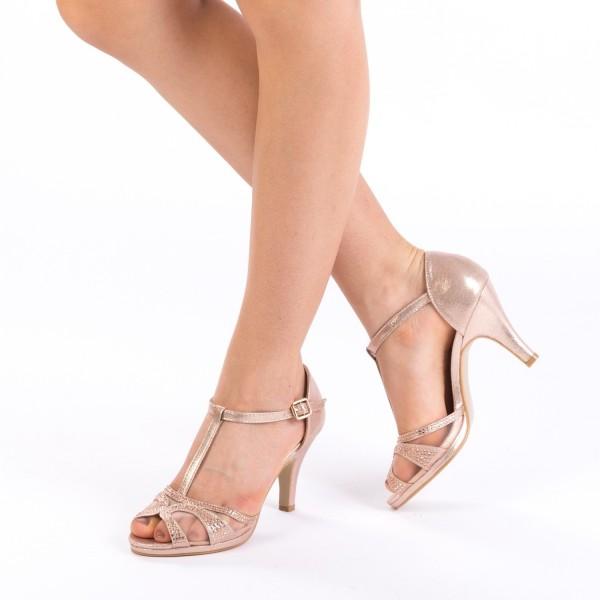 Sandale cu Toc WT172 Champagne Mei