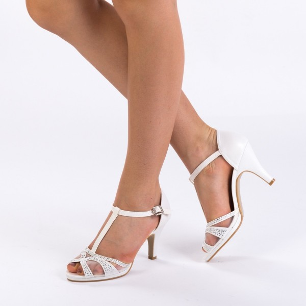 Sandale cu Toc WT172 White Mei