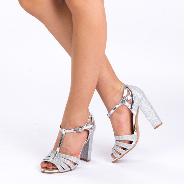 Sandale cu Toc XKK131 Silver Mei