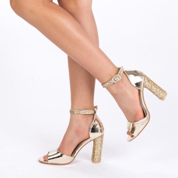 Sandale cu Toc XD73 Gold Mei
