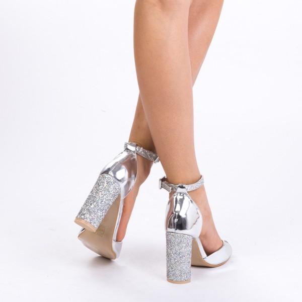 Sandale cu Toc XD73 Silver Mei