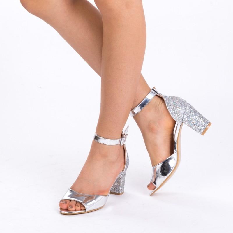 Sandale cu Toc QZL180 Silver Mei