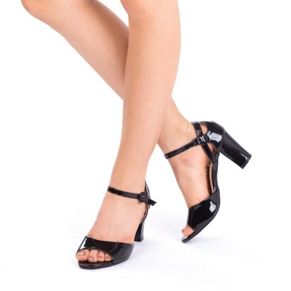 Sandale cu Toc QZL150B Black Mei