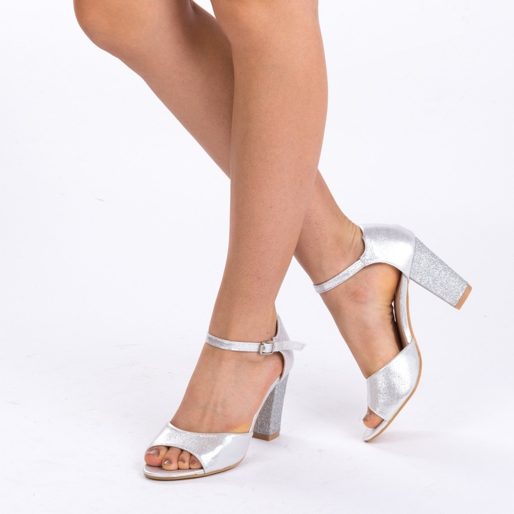 Sandale cu Toc QZL79C Silver Mei