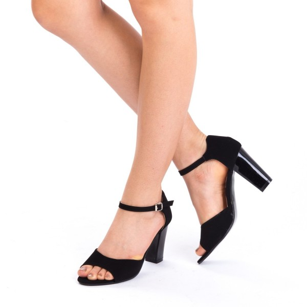 Sandale cu Toc QZL79A Black Mei