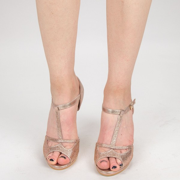 Sandale cu Toc QZL95 Gold Mei
