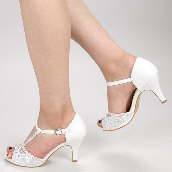Sandale cu Toc QZL95 White Mei