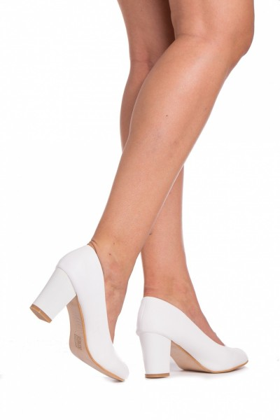 Pantofi cu Toc QZL128A White Mei
