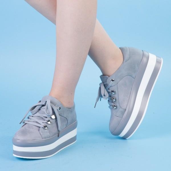 Pantofi Sport cu Platforma GB12 Grey Mei