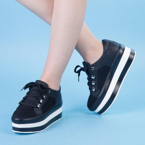 Pantofi Sport cu Platforma GB12 Black Mei