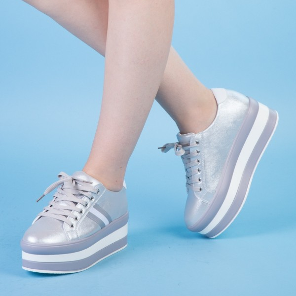 Pantofi Sport cu Platforma GB11 Silver Mei