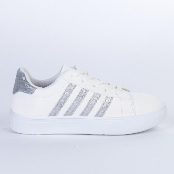 Pantofi Sport Dama F01 White-Silver Etalon