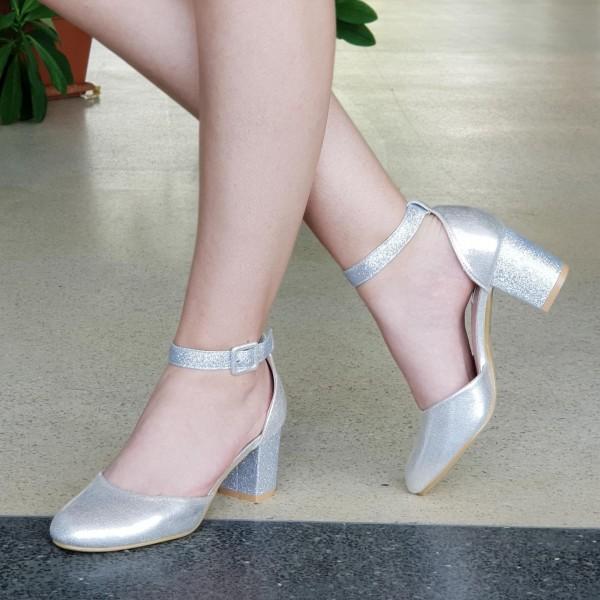 Pantofi cu Toc XD111A Silver Mei