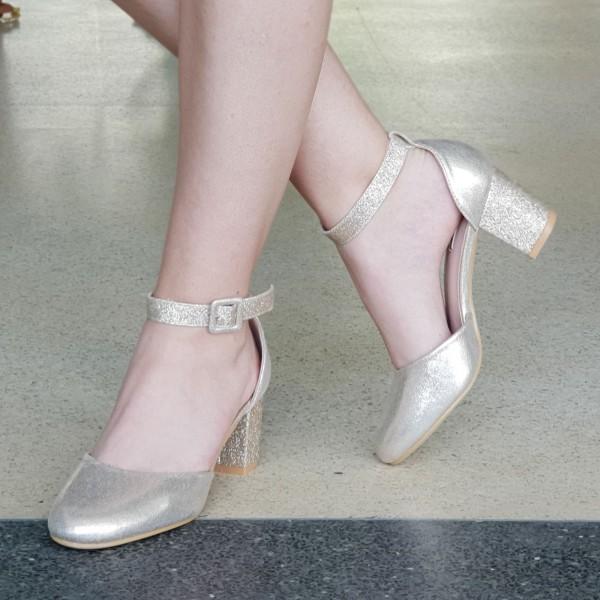 Pantofi cu Toc XD111A Gold Mei