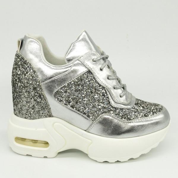 Pantofi Sport cu Platforma SJN191 Silver Mei