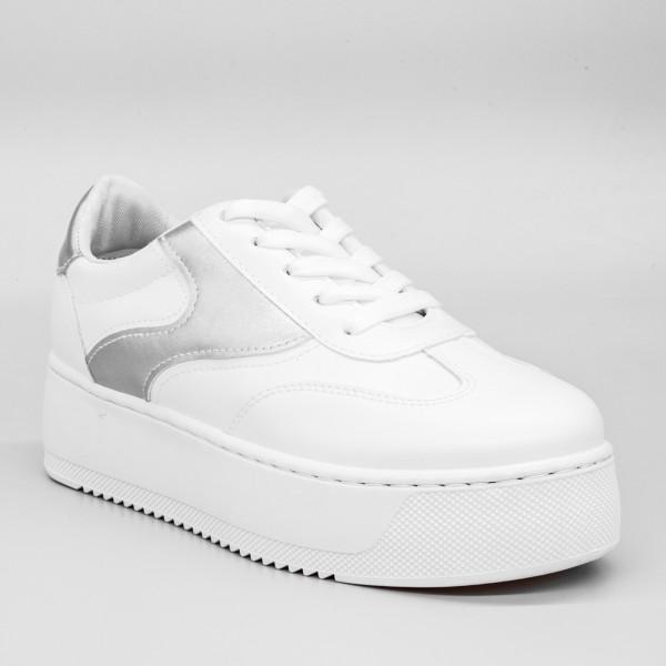 Pantofi Sport cu Platforma Dama GB17 White Mei