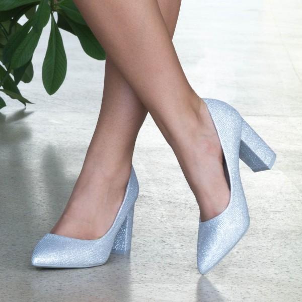 Pantofi cu Toc WT52C Silver Mei