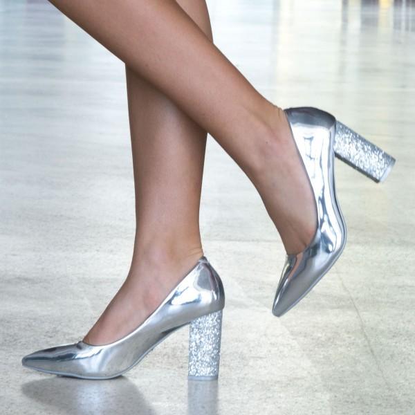 Pantofi cu Toc LLH19 Silver Mei