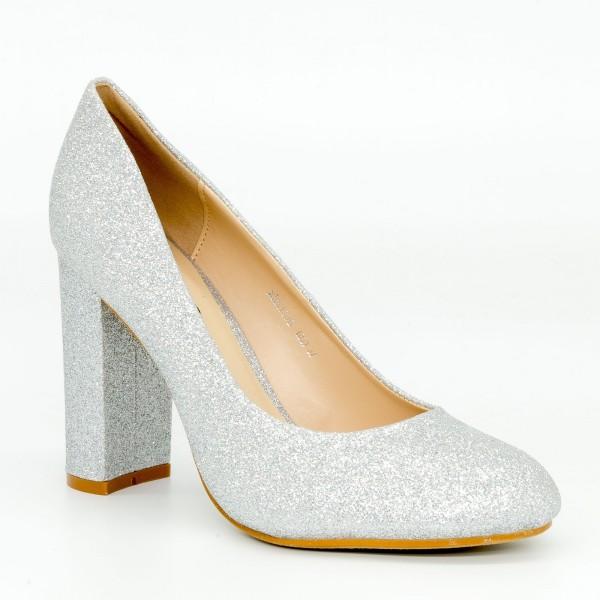 Pantofi cu Toc XKK130B Silver Mei