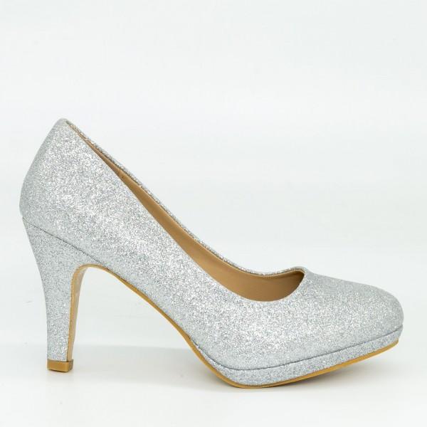 Pantofi cu Toc QZL131C Silver Mei