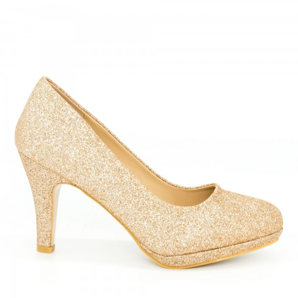 Pantofi cu Toc QZL131C Gold Mei