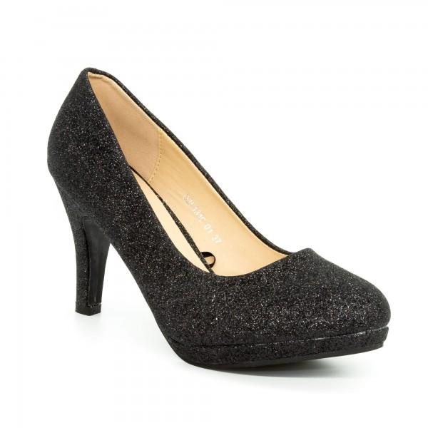 Pantofi cu Toc QZL131C Black Mei