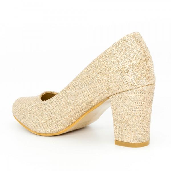 Pantofi cu Toc QZL128C Gold Mei