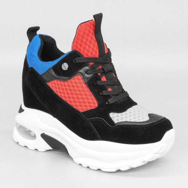 Pantofi Sport cu Platforma Dama SZ176 Black-Red Mei