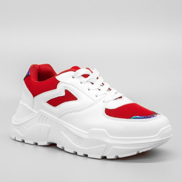 Pantofi Sport cu Platforma Dama GB36 White-Red Mei