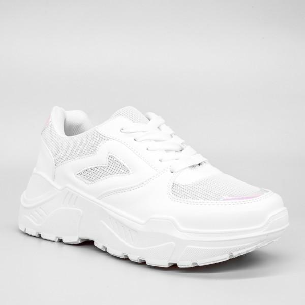 Pantofi Sport cu Platforma Dama GB36 White Mei