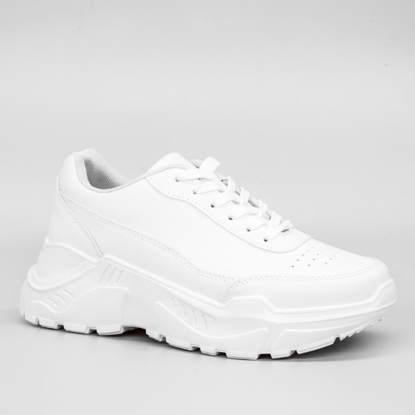 Pantofi Sport cu Platforma Dama GB35 White Mei
