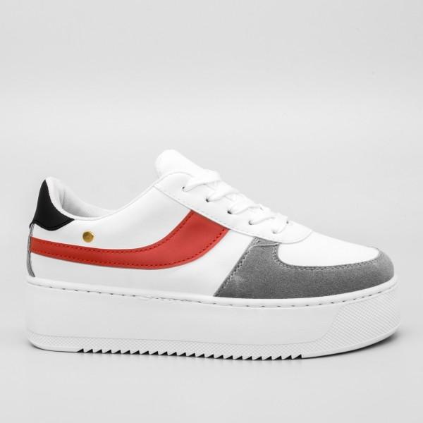 Pantofi Sport cu Platforma Dama GB25 White Mei