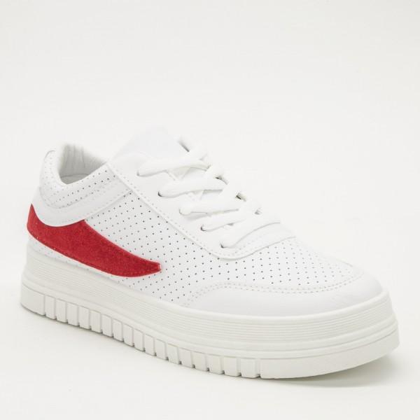 Pantofi Sport Dama D17 White-Red Sport Fashion