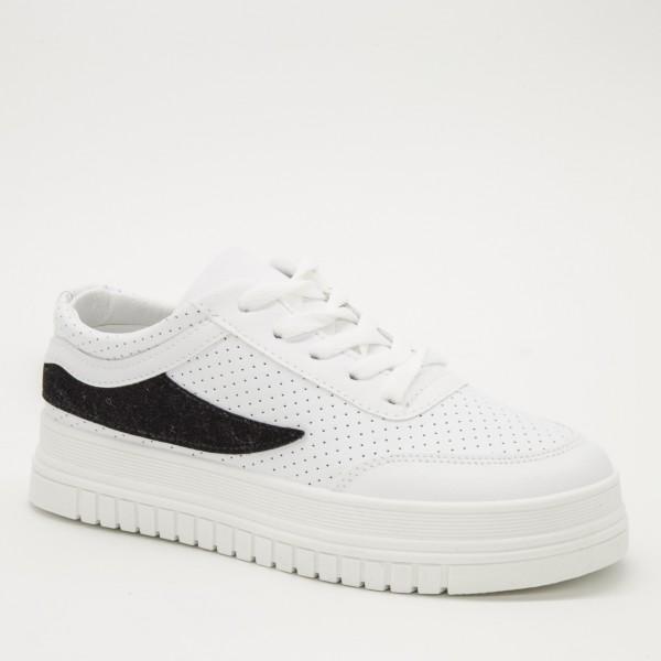 Pantofi Sport Dama D17 White-Black Sport Fashion