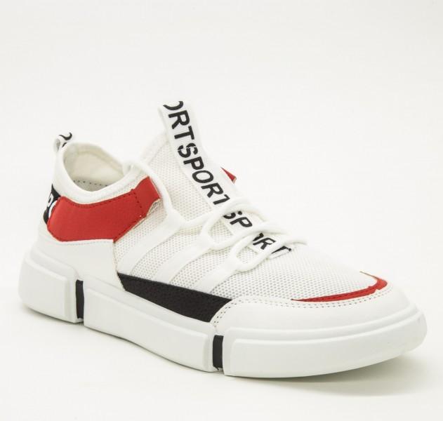 Pantofi Sport Barbati D02 White-Red Sport Fashion