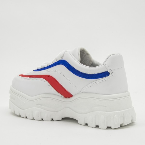 Pantofi Sport cu Platforma Dama YKQ38 White-Red-Blue Mei