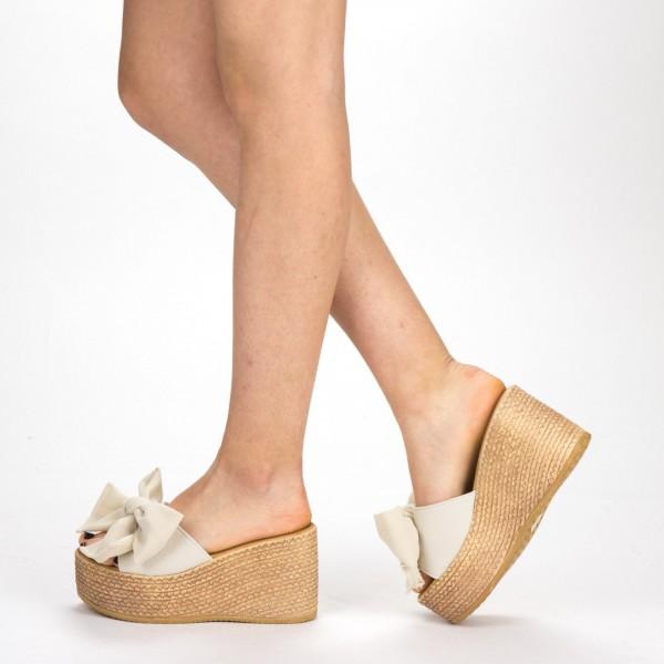 Papuci cu Platforma Dama WS117 Beige Mei