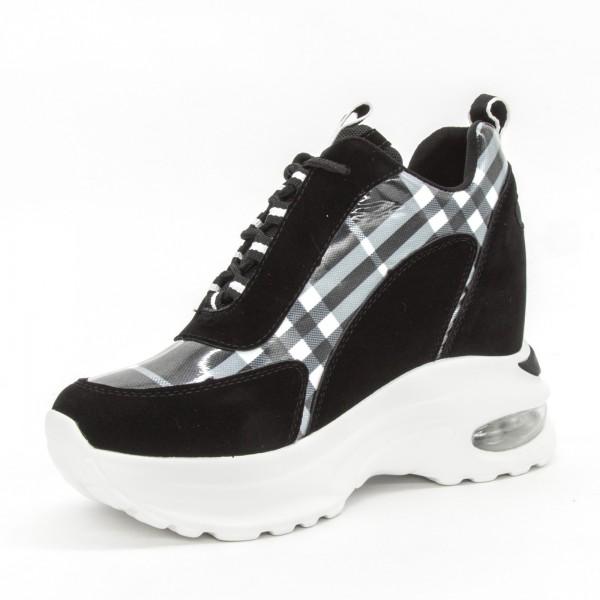 Pantofi Sport cu Platforma Dama SZ190 Black-Grey Mei