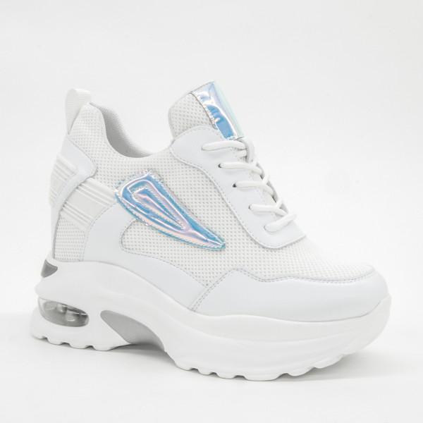 Pantofi Sport cu Platforma Dama SJN257 White Mei