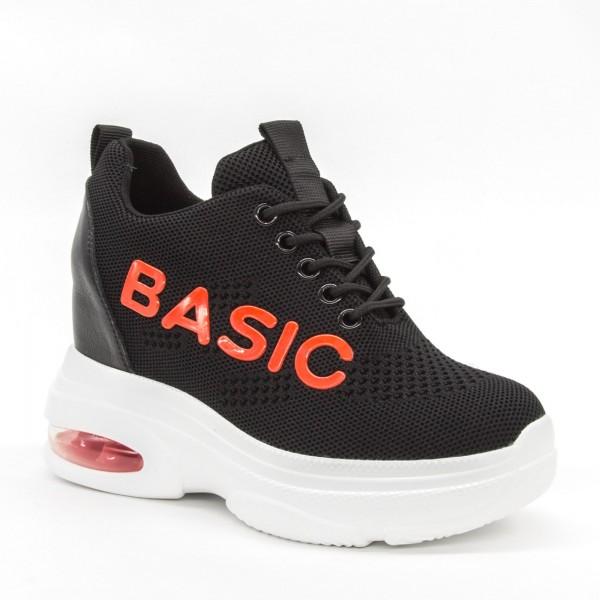 Pantofi Sport cu Platforma Dama SJN256 Black-Red Mei
