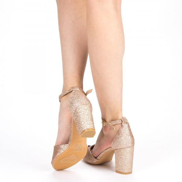 Sandale Dama cu Toc QZL255A Champagne Mei
