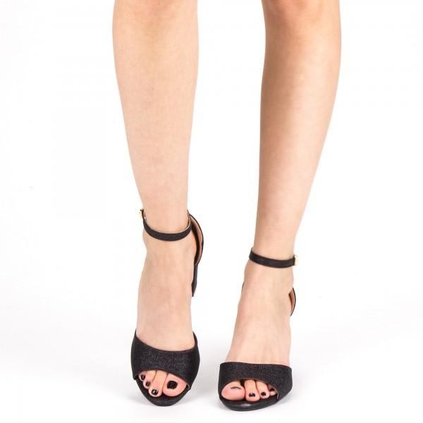 Sandale Dama cu Toc QZL255A Black Mei