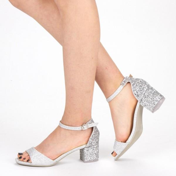 Sandale Dama cu Toc QZL218B Silver Mei