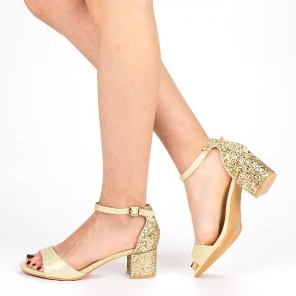 Sandale Dama cu Toc QZL218B Gold Mei