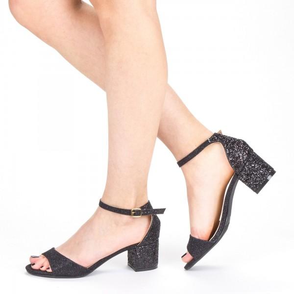 Sandale Dama cu Toc QZL218B Black Mei