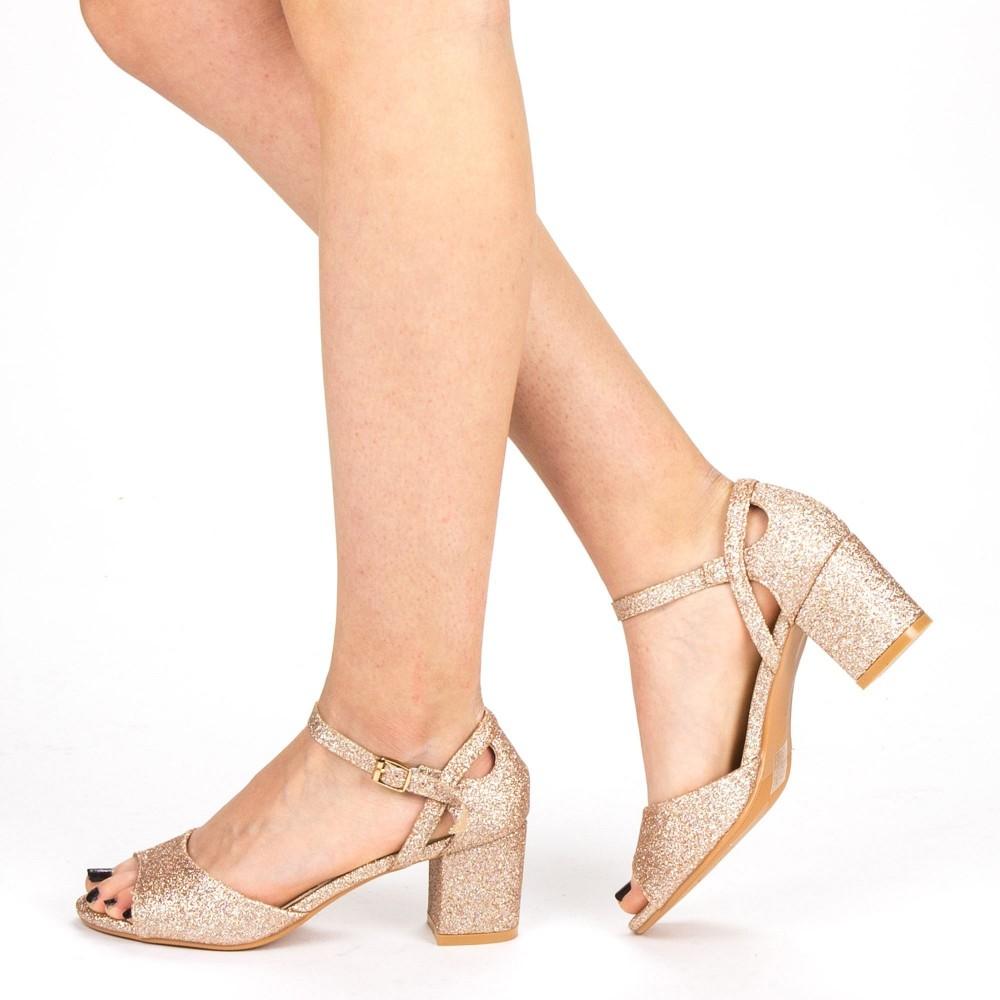Sandale Dama cu Toc QZL217B Champagne Mei