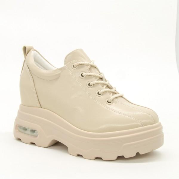 Pantofi Sport cu Platforma Dama QQ25 Beige Mei