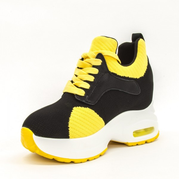 Pantofi Sport cu Platforma Dama QQ20 Black-Yellow Mei